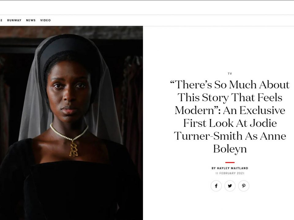 Screen shot from British Vogue online showcasing an article about new TV series Anne Boleyn
