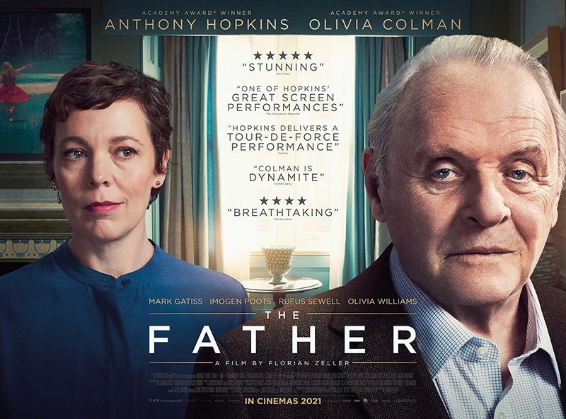 Poster for the film, The Father starring Anthony Hopkins and Olivia Colman